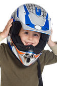 Adorable boy with a helmet in the head — Stock Photo