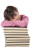 Tired child student — Stock Photo