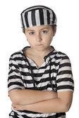 Sad child with prisoner costume — Stock Photo