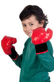Funny boy with boxing gloves — Foto de Stock