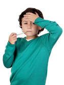 Adorable boy whit thermometer — Stock Photo