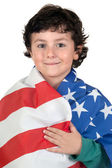 Adorable boy with american flag — Stok fotoğraf