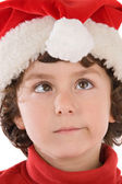 Funny boy with red hat of Christmas — Stock Photo