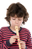 Flauto gioco bambino adorabile — Foto Stock