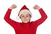 Winner boy with santa hat — Stock Photo