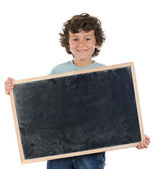 Kind mit leeren schiefer und worte — Stockfoto