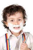 Adorable child shaving — Stock Photo