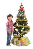 Adorable boy in Christmas — Stockfoto