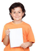 Nice child with blank notebook — Stock Photo