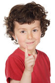 Boy pointing up — Stock Photo