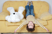 Boy and teddy bear — Stock Photo