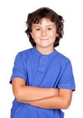 Funny child with blue t-shirt — Stock Photo