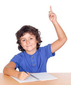 Student child studying raising the hand — Stock Photo