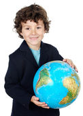 With a globe of the world — Stock Photo