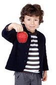 1 つのリンゴの愛らしい子供 — ストック写真