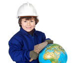 Adorable future builder constructing the world — Stock Photo