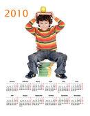 Estudante sentado em um calendário de 2010 — Foto Stock
