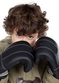 Boy with boxing gloves — Stock Photo