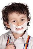 Adorable child shaving — Stock Photo