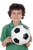 Adorable boy with ball of footboll — Stock Photo
