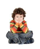 Adorable caucasian boy sitting — Stock Photo