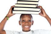 Dítě s knihami v hlavě — Stock fotografie
