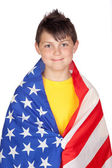 Funny child with yellow t-shirt with American flag — Stock Photo