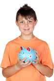 Funny child with a money-box — Stock Photo