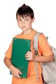 Student kind met oranje t-shirt — Stockfoto