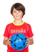 Smiling child fan of the Spanish team — Stock Photo