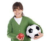 Girl whit ball and apple — Stock Photo