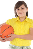Girl whit ball of basketball — Stock Photo