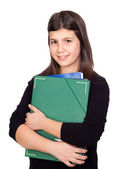 Student girl with green folder — Stock Photo