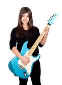 Adorable dziewczyna odrobina gitara elektryczna — Zdjęcie stockowe