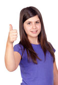 Adorable preteen girl accepting with the tumbs — Stock Photo