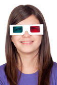 Preteen girl with three-dimensional glasses — Stock Photo