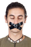 Teenager with mouth sealed — Stock Photo