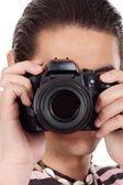 Young man photographer — Stock Photo