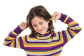 Pretty girl covering her ears — Stock Photo