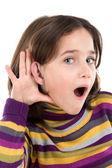 Adorable girl hearing — Stock Photo
