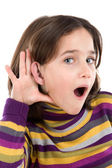 Adorable girl hearing — Stock Photo