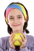 Adorable girl with a apple — Stock Photo