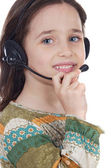 Girl with headset — Stock Photo