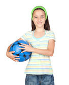 Adorable little girl with soccer ball — Stock Photo