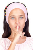 Portrait of adorable girl ordering silence — Stock Photo