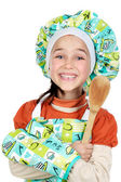 Small cook girl with scoop — Stock Photo