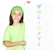 Adorable little girl with a poster — Stock Photo