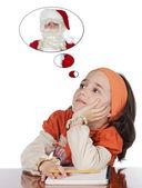 Studying thinking about santa — Stock Photo