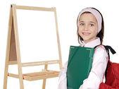 聖霊降臨祭のスレートを勉強していた少女 — ストック写真