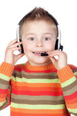 Adorable child with headphones — Stock Photo